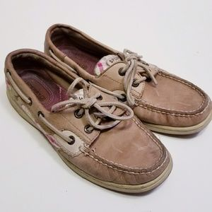 Sperry Sz 6.5 Tan/Pink/Green Boat Slip On shoes